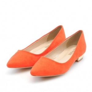 รองเท้าสไตล์ญี่ปุ่น สวย ดูแพงด้วย ผ้ากำมะหยี่สีส้ม ส้นรองเท้าแผ่นซิลิโคนสีทองเงางาม พื้นรองเท้านิ่มใส่สบาย เนียบมาตราฐานญี่ปุ่น ไซส์ 23.5 ยี่ห้อ OLIVE des Olive Japan