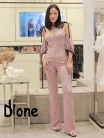 เสื้อผ้าเกาหลี พร้อมส่ง Jumpsuit ขายาว สีชมพู