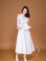 ชุดเดรสเกาหลี พร้อมส่ง MAXI DRESS โทนขาว ผ้าเชิ้ต