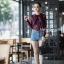 เสื้อเกาหลี พร้อมส่ง เสื้อเชิ้ต ซีฟองพิมพ์ลายจุป้าจุ๊ป thumbnail 7