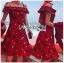 เดรสเกาหลี พร้อมส่ง เดรสผ้าเครปสีแดง ลายดอกไม้ thumbnail 13