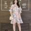 เดรสเกาหลี พร้อมส่ง Dress เดรสสั้น ลายดอก thumbnail 3