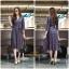 ชุดเดรสเกาหลี พร้อมส่ง Dress คอวี แขน 5ส่วน thumbnail 2