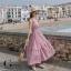 ชุดเดรสเกาหลี พร้อมส่ง Maxi dress ลายสก๊อต เอวสม๊อค thumbnail 5