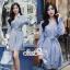 เดรสเกาหลี พร้อมส่ง เดรสเชิ้ต สีฟ้าลายริ้วสลับขาวลายทาง thumbnail 2