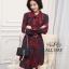 เดรสเกาหลี พร้อมส่ง เดรส คอผูกโบว์ ผ้าหางกระรอก thumbnail 4