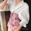 เสื้อผ้าเกาหลี พร้อมส่ง จั้มปลายแขนพองๆ กับ กางเกงเอวสูง thumbnail 4