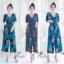 เสื้อผ้าเกาหลี พร้อมส่ง จั้มสูท ขายาว คอวีป้าย thumbnail 1