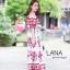 ชุดเดรสเกาหลี พร้อมส่ง เดรสกระโปรงยาว ปาดไหล่ แขนตุ๊กตา thumbnail 6