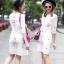 เดรสเกาหลี พร้อมส่ง Dress คอกลม แขน5ส่วน thumbnail 1