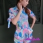พร้อมส่ง Jumsuit ขาสั้น ลายผ้าสะบัดสีโทนพาสเทล thumbnail 2