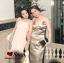 ชุดเดรสเกาหลี พร้อมส่ง Maxi Dress สายเดียว ผ้าสีพื้นมันเงา thumbnail 5