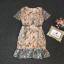 เดรสเกาหลี พร้อมส่ง ชุดเดรส ผ้าปักดอกไม้สีส้มแต่งใบไม้ thumbnail 8