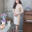 เดรสเกาหลี พร้อมส่ง Dress ลูกไม้ แขนชีฟอง thumbnail 8