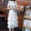 ชุดเดรสเกาหลี พร้อมส่ง เดรส ตาข่ายปักดอก คอระบาย thumbnail 10