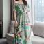 พร้อมส่ง long dress ผ้าชีฟองหลากสีโทนสีเขียวขี้ม้า thumbnail 5
