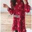 เดรสเกาหลี พร้อมส่ง เดรสผ้าเครปสีแดง ลายดอกไม้ thumbnail 7