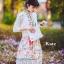 ชุดเดรสเกาหลี พร้อมส่ง เดรสแขนล้ำ คอปก ลายดอกไม้ thumbnail 13