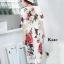 เดรสเกาหลี พร้อมส่ง เดรสแขนสั้น ดอกไม้สีแดง thumbnail 8
