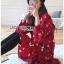 เดรสเกาหลี พร้อมส่ง เดรสผ้าเครปสีแดง ลายดอกไม้ thumbnail 5
