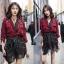 เดรสเกาหลี พร้อมส่ง ชุดเดรส + เสื้อคลุม เบรเซอร์ สีแดง thumbnail 3