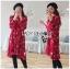 เดรสเกาหลี พร้อมส่ง เดรสผ้าเครปสีแดง ลายดอกไม้ thumbnail 3