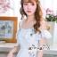 ชุดเดรสเกาหลี พร้อมส่ง เดรสยาว สีฟ้า ปักลายดอกไม้สีฟ้า-สีชมพู thumbnail 7