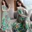 พร้อมส่ง long dress ผ้าชีฟองหลากสีโทนสีเขียวขี้ม้า thumbnail 2