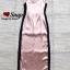 ชุดเดรสเกาหลี พร้อมส่ง Maxi Dress สายเดียว ผ้าสีพื้นมันเงา thumbnail 9