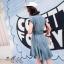 เดรสเกาหลี พร้อมส่ง Dress คอเชิ๊ต แขนล้ำ thumbnail 4
