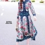 ชุดเดรสเกาหลี พร้อมส่ง เดรสยาว ผ้าsilk เนื้อผ้าปริ้นท์ลาย thumbnail 1