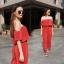 เสื้อผ้าเกาหลี พร้อมส่ง จั้มสูท ผ้าพลีทเงา thumbnail 2