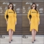 ชุดเดรสเกาหลี พร้อมส่ง Long Dress เดรสแขนยาวเปิดไหล่ thumbnail 3
