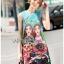 เดรสเกาหลี พร้อมส่ง มินิเดรส ผ้าโบรเคดพิมพ์ลายสีสดใส thumbnail 4