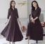 ชุดเดรสเกาหลี พร้อมส่ง Dress คอวี แขน 5ส่วน ลายจุด thumbnail 4