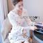 ชุดเดรสเกาหลี พร้อมส่ง มินิเดรส ผ้าเครปสีขาว thumbnail 8