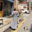 Maxi dress เดรสเกาหลี พร้อมส่ง เดรส ลายสก๊อตย่นหน้า thumbnail 5