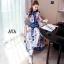 ชุดเดรสเกาหลี พร้อมส่ง เดรสยาว ผ้าsilk เนื้อผ้าปริ้นท์ลาย thumbnail 15