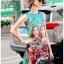 เดรสเกาหลี พร้อมส่ง มินิเดรส ผ้าโบรเคดพิมพ์ลายสีสดใส thumbnail 5