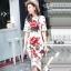 เดรสเกาหลี พร้อมส่ง เดรสแขนสั้น ดอกไม้สีแดง thumbnail 2