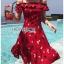 เดรสเกาหลี พร้อมส่ง เดรสผ้าเครปสีแดง ลายดอกไม้ thumbnail 14