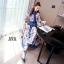 ชุดเดรสเกาหลี พร้อมส่ง เดรสยาว ผ้าsilk เนื้อผ้าปริ้นท์ลาย thumbnail 7