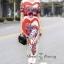 ชุดเดรสเกาหลี พร้อมส่ง เดรสยาว ลายดอกกุหลาบผสมลายหัวใจ thumbnail 3