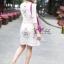 เดรสเกาหลี พร้อมส่ง Dress คอกลม แขน5ส่วน thumbnail 4