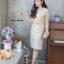 เดรสเกาหลี พร้อมส่ง Dress ลูกไม้ แขนชีฟอง thumbnail 7