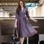 ชุดเดรสเกาหลี พร้อมส่ง Dress คอวี แขน 5ส่วน thumbnail 1