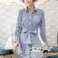 เดรสเกาหลี พร้อมส่ง เดรส ผ้าคอตตอลทอลายตรงริ้ว thumbnail 4