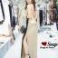 ชุดเดรสเกาหลี พร้อมส่ง Maxi Dress สายเดียว ผ้าสีพื้นมันเงา thumbnail 3
