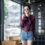 เสื้อเกาหลี พร้อมส่ง เสื้อเชิ้ต ซีฟองพิมพ์ลายจุป้าจุ๊ป thumbnail 8