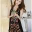 เดรสเกาหลี พร้อมส่ง เดรสสีดำ ปักลายดอกไม้ thumbnail 17